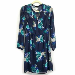 Teal Floral Chiffon Cuff Sleeve Button Front Dress